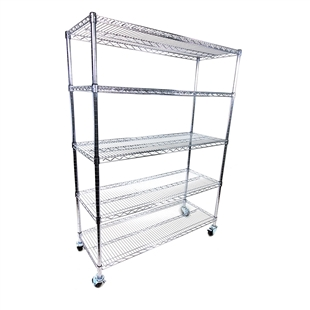 "12""d x 72""w - 5-Shelf Chrome Wire Carts w/ 3"" Casters"