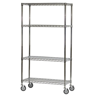 "4-Shelf Chrome Wire Carts - 24""d x 36""w"