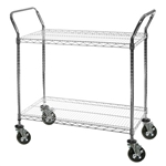"2-Shelf Chrome Wire Utility Carts - 24""d"