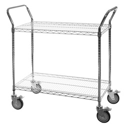"2-Shelf Chrome Wire Utility Carts - 18""d"