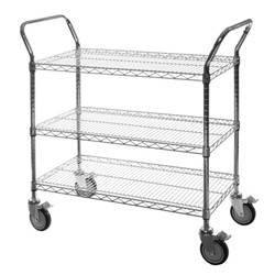 "3-Shelf Chrome Wire Utility Carts - 18""d"