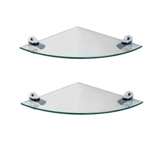 2-Piece Glass Radial Floating Shelves
