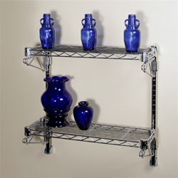 "8""d 2 Shelf Chrome Wire Wall Mounted Shelving Kits"