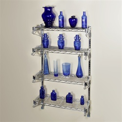 "8""d 4 Shelf Chrome Wire Wall Mounted Shelf Kits"