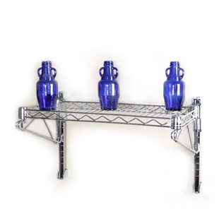 "8""d 1 Shelf Chrome Wire Wall Mounted Shelf Kits"