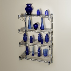 "12""d 4 Shelf Chrome Wire Wall Mounted Shelving Kit"
