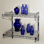"18""d 2 Shelf Chrome Wire Wall Mounted Shelving Kit"