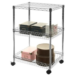 "18""d Wire Shelving Basket Cart w/ 3 Shelves"