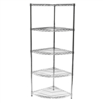 "24""d Chrome Wire Radius Corner Unit w/ 5 Shelves"