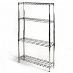 "8""d x 30""w Wire Shelving with 4 Shelves"