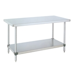 Stainless Steel Work Table w/ Galvanized Shelf