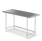 Stainless Steel Work Table w/ 3-Sided Frame