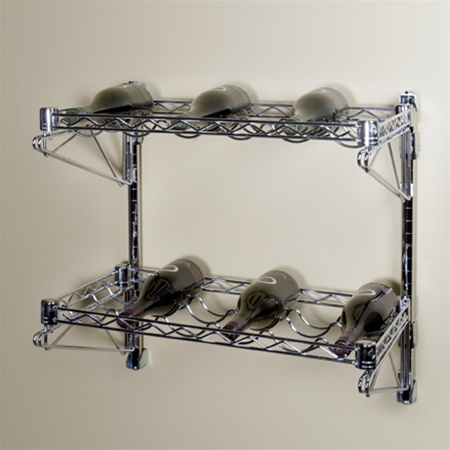 14d 2 Shelf Chrome Wire Wall Mounted Wine Shelving Kit