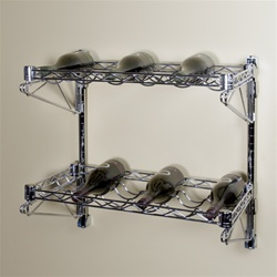 2 wine shelves with an adjustable wall mounting system- wire shelving