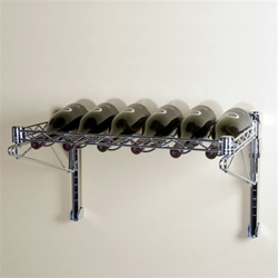 Wall Mounted Wire Shelving featuring a Wine Shelf- holds 6-12 bottles