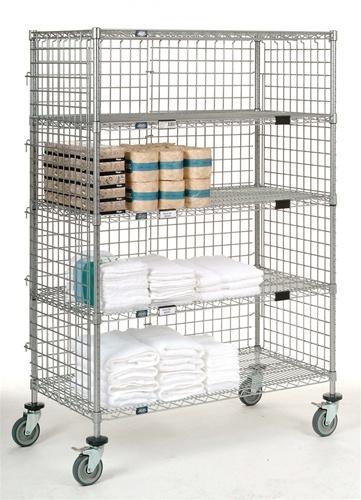 5 Shelf Wire Shelving Security Cart Nexel