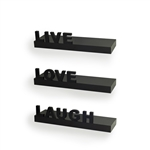 """Live"" ""Love"" ""Laugh"" Wall Shelves (Set of 3)"