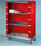 "24""d Wire Shelving Cart Covers - Red"