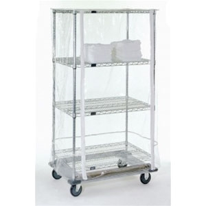 10 Gauge Clear Wire Shelf Cart Cover With Zipper
