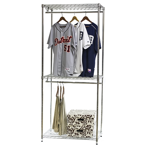 Wire Shelving Closet Organizer w Double Hang Storage 18d x 84h