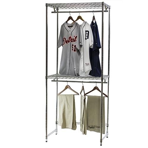 Double Hang Closet Shelving, Wire Garment Rack