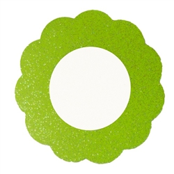 Green magnetic mirror with decorative scalloped edges and shimmering finish