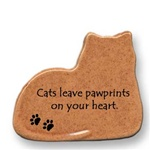"August Ceramics: ""Cats leave pawprints on your heart."" Cat Magnet"