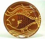 Hendersons Redware Pottery Fish and Waves Plate