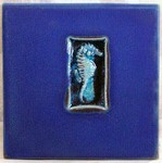 "MICHAEL COHEN- #25 -- ""Sea Horse"" pattern tile"