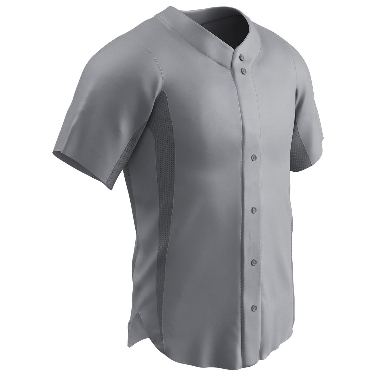 CHAMPRO Wild Card 2 Button Polyester Baseball//Softball Jersey White,Grey Adult Small