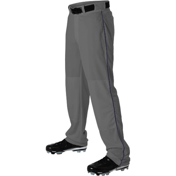 Alleson Athletic Youth Baseball Pant GRAY with Braid Piping 605WLBY Open Bottom