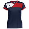 Joma | SHORT SLEEVE T-SHIRT CREW II NAVY BLUE-RED WOMEN | 11094-JOM-900385.306
