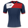 Joma | SHORT SLEEVE T-SHIRT CREW II NAVY BLUE-RED | 11225-JOM-100611.306