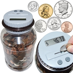 Digital Coin Counting Money Jar Bank - Accepts All US Coins from Pennies to Dollars
