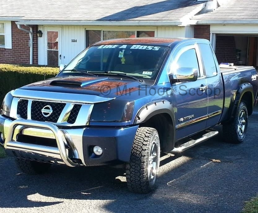 2004 - 2015 Nissan Titan Hood Scoop Kit With Grille Insert HS003 unpainted  or painted