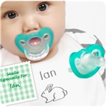 1. Personalized Bunny Bib & Clip - Pink or Blue