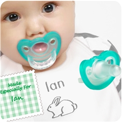 1. Personalized Bunny Bib with 2 JollyPops - Pink or Blue