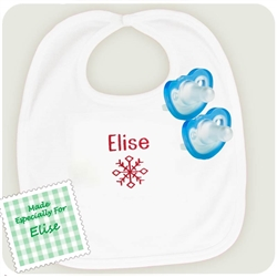 1. Personalized Snowflake Bib with JollyPop