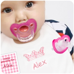 1. Personalized Crown Bib with 2 JollyPops - Pink or Blue