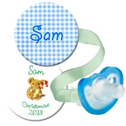 1. Personalized Blue Gingham and Christmas Combo