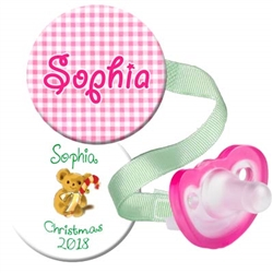 1. Personalized Pink Gingham and Christmas Combo