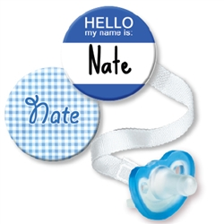 Personalized Name Tag & Blue Gingham Combo