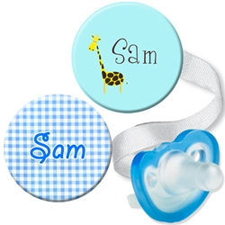Personalized Blue Gingham & Giraffe Combo