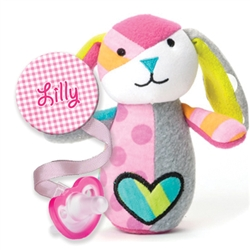 Personalized Gingham Clip & Britto Bebe Bunny Rattle