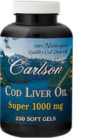 Cod Liver Oil, 1000mg 250 gels, by Carlson Labs