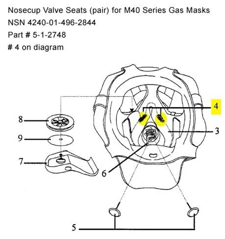 Nosecup Valve Seat Assembly for M40 Series Gas Masks (Pair