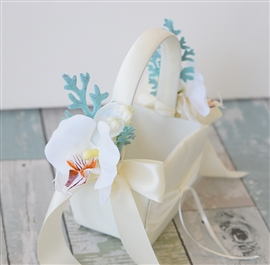 Flower Girl Orchids Tropical Beach Wedding Basket - Your Colors!