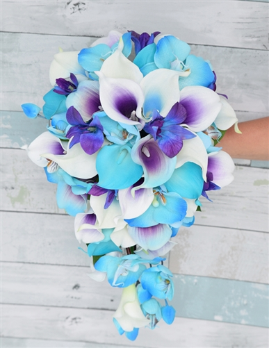 Real Touch Turquoise Aruba Callas, Purple Picasso and Purple Blue Orchids Silk Wedding Bouquet