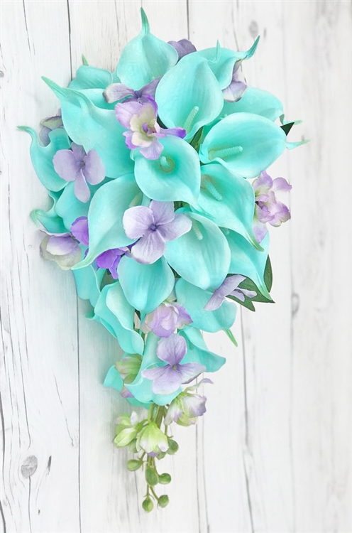 Natural Touch White and Turquoise Callas with Lilac Lavender ...