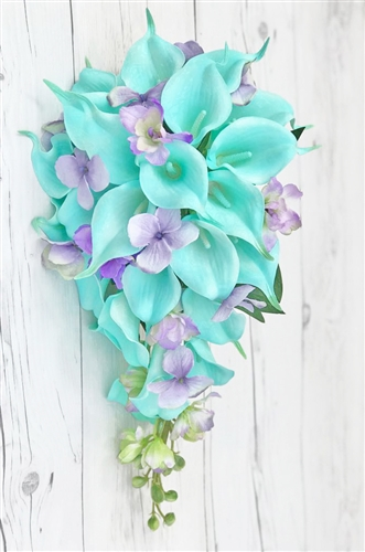 Natural Touch White and Turquoise Callas with Lilac Filler Cascade Bouquet